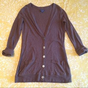 American Eagle brown long cardigan sweater M